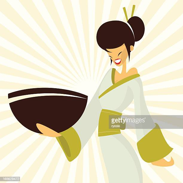 japanese woman - only japanese stock illustrations, clip art, cartoons, & icons
