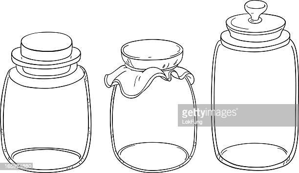 Jar collection in line art style