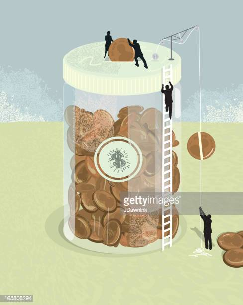 Jar of pennies financial concept with silhouette business people