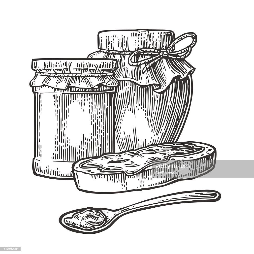 Jar, spoon and slice of bread with jam.