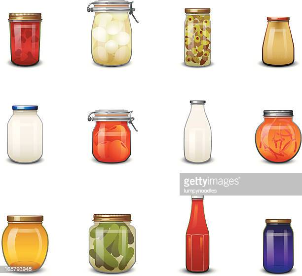 jarred food icons - pickled stock illustrations