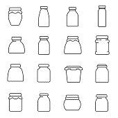 jars, line icons set. Editable stroke