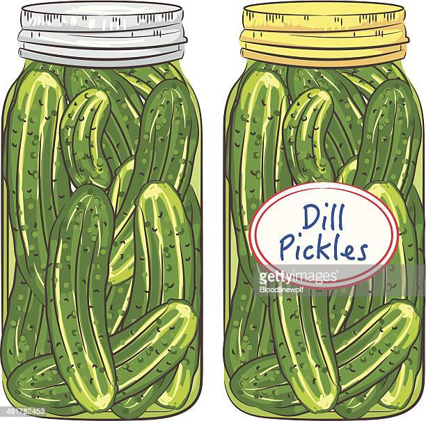 jars of dill pickles - pickled stock illustrations