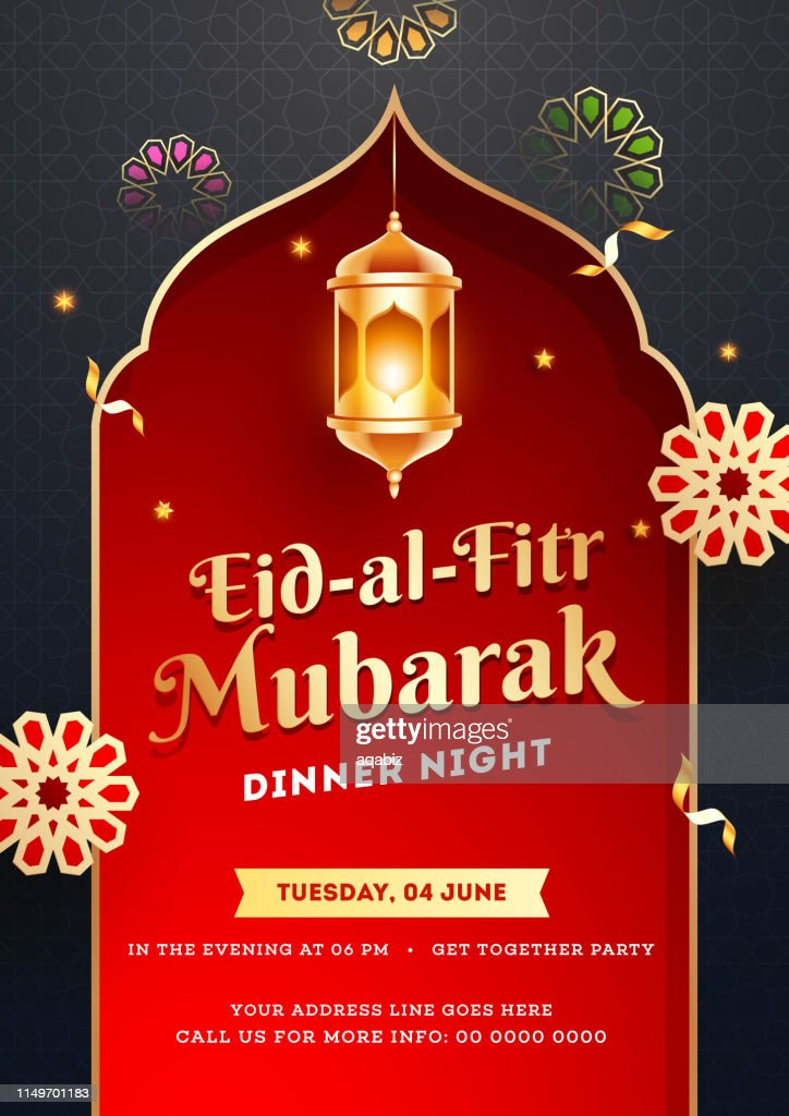 Jashn-e-eid dinner party template or flyer design with illuminated lantern shiny red background.