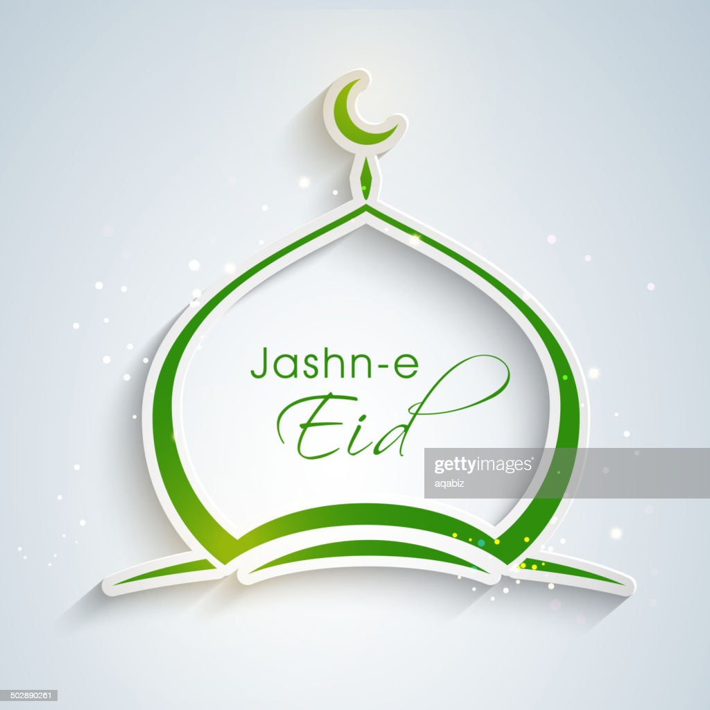 Jashn-e-Eid greeting design with green mosque icon.