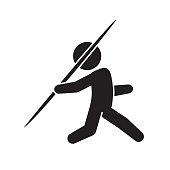 Javelin throw sports icon. Vector.
