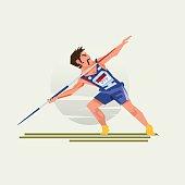 Javelin Throwing athlete man - vector illustration