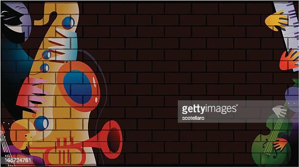 jazz background - bass instrument stock illustrations, clip art, cartoons, & icons