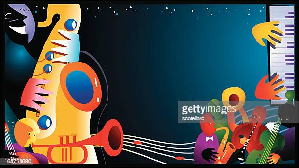 jazz background - musician stock illustrations, clip art, cartoons, & icons