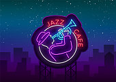 Jazz cafe  in neon style. Neon sign symbol, emblem, light banner, luminous sign. Bright Neon Night Advertising for Jazz Club, Cafe, Restaurant, Bar, Party. Vector illustration