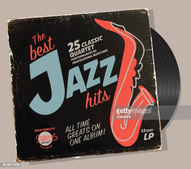 jazz compilation retro record sleeve design template - jazz stock illustrations, clip art, cartoons, & icons