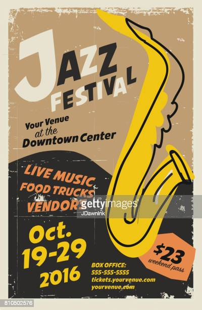 jazz festival night poster design template - saxaphone stock illustrations, clip art, cartoons, & icons