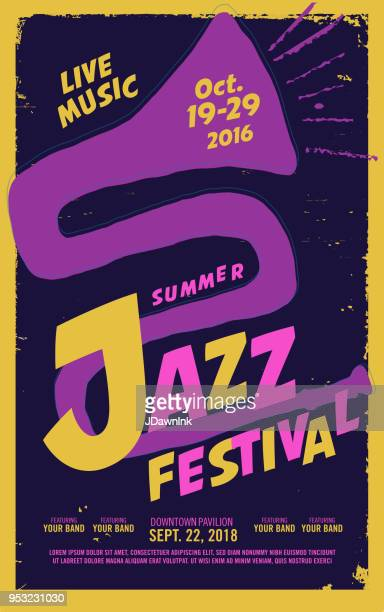 jazz festival night poster design template - music festival stock illustrations