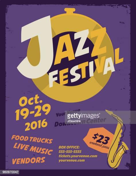 jazz festival poster design layout template - jazz music stock illustrations, clip art, cartoons, & icons