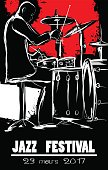 Jazz festival Poster with drummer