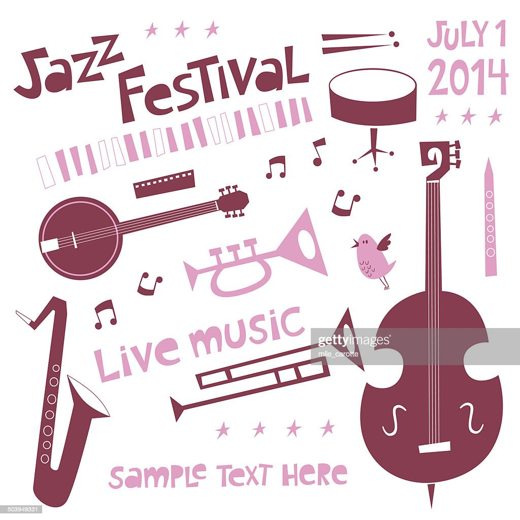Jazz festival set in cartoon style