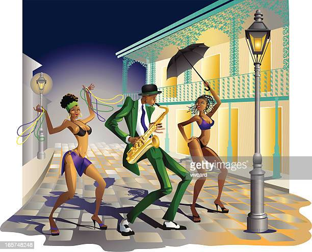 jazz in new orleans - new orleans stock illustrations, clip art, cartoons, & icons