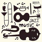 Jazz instruments vector set
