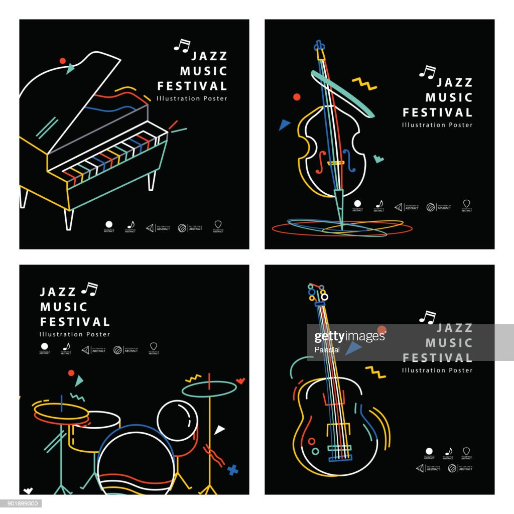 Jazz music banner poster square 4 musical instrument illustration vector. Music concept.