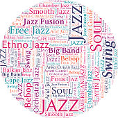 Jazz Music Concept Vector Word Cloud on white background