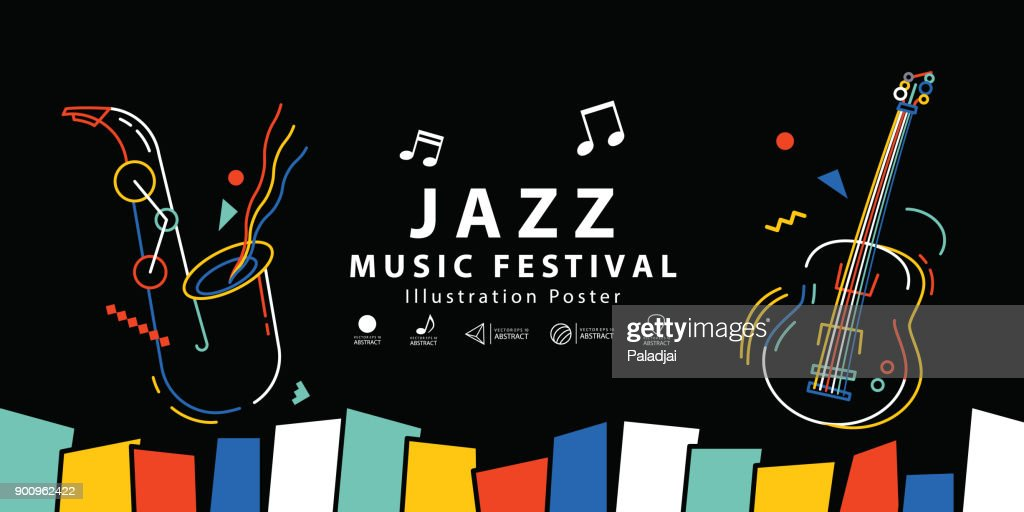 Jazz music festival banner poster illustration vector. Background concept.