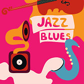 Jazz music festival colorful poster with music instruments