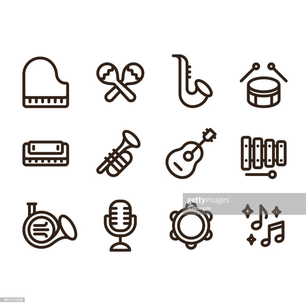 Jazz music instruments icons