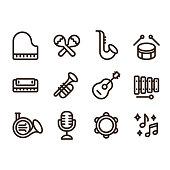 Jazz music instruments icons