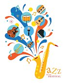 Jazz Music Instruments, Saxophone with Icons