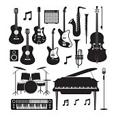 Jazz Music Instruments Silhouette Objects Set