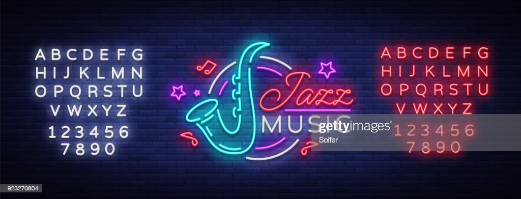 Jazz music is a neon sign. Symbol, neon-style logo, bright night banner, luminous advertising on Jazz music for Jazz cafe, restaurant, bar, party, concert. Vector illustration. Editing text neon sign