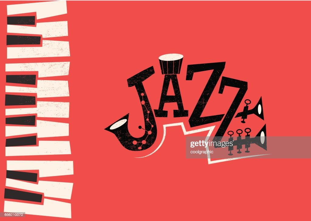 Jazz Music - retro flat illustration