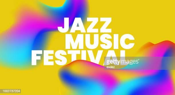 ilustrações, clipart, desenhos animados e ícones de jazz música texto base projeto - music festival