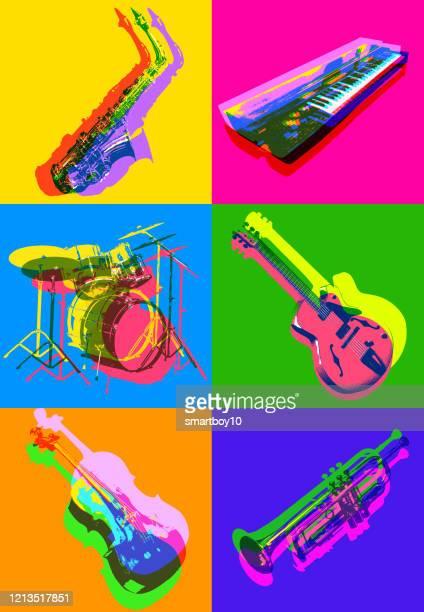 illustrazioni stock, clip art, cartoni animati e icone di tendenza di icone dello strumento musicale jazz - musica