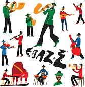jazz musicians cartoons set