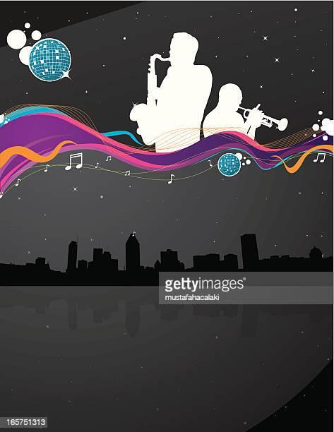 jazz night background - jazz stock illustrations, clip art, cartoons, & icons