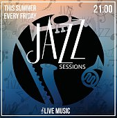 Jazz Sessions grunge poster vector