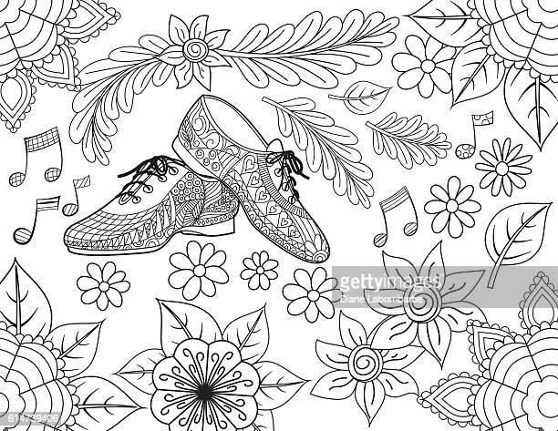 Jazz Shoes Hand Drawn Adult Coloring Book Page