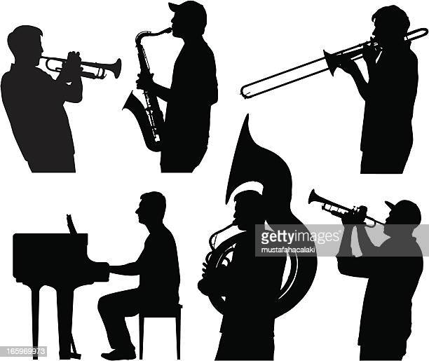 jazz silhouettes - musician stock illustrations, clip art, cartoons, & icons