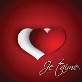 Je t'aime hearts illustration