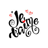 Je t'aime I love you in french- hand drawn lettering phrase isolated on the white