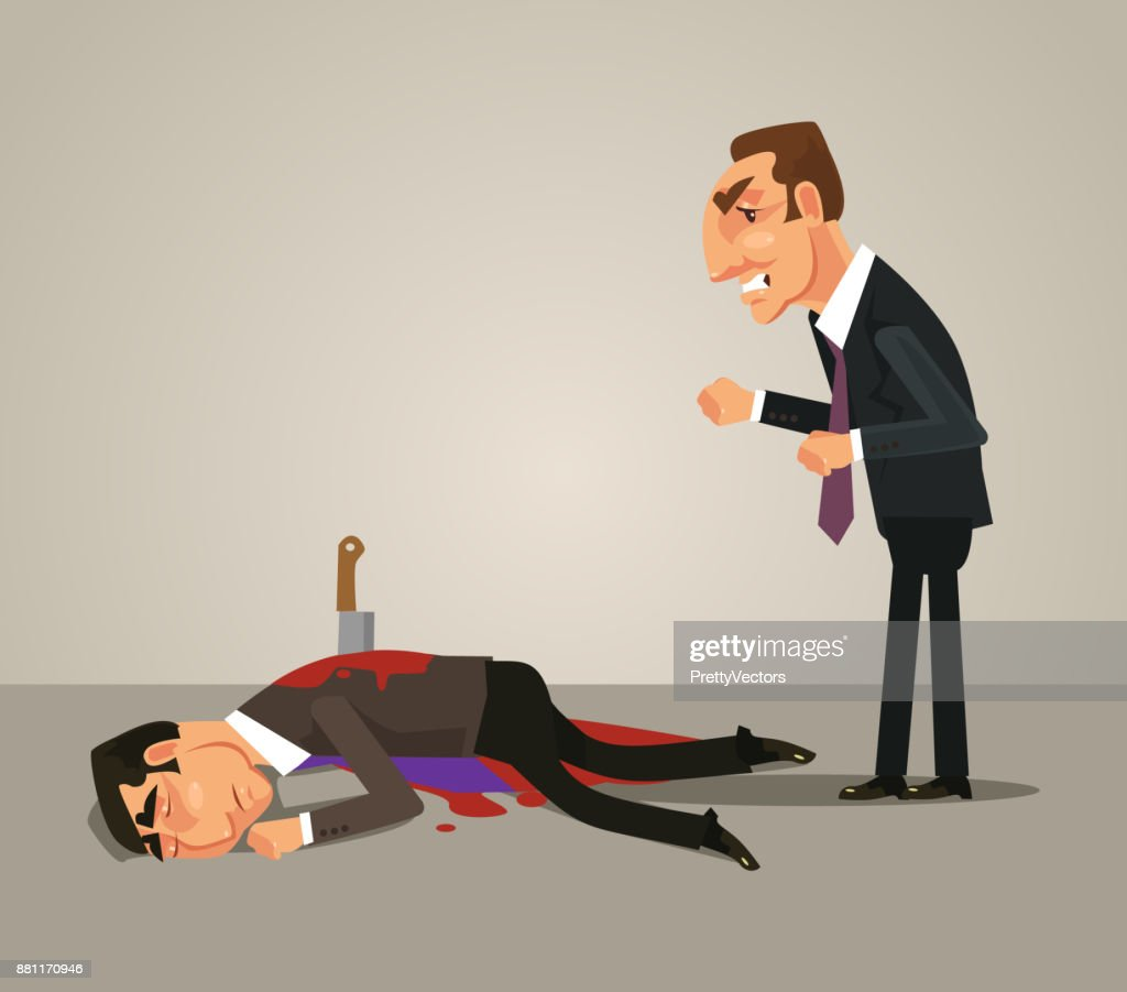 Jealous office worker businessman kill by knife his colleague. Bad teamwork concept