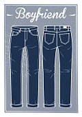 Jeans boyfriend fit (frond and back)