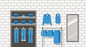 Jeans clothes shop indoor interior flat background