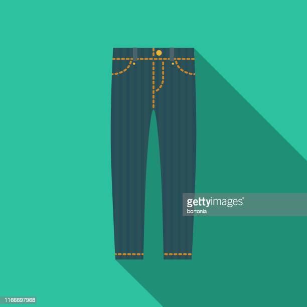 stockillustraties, clipart, cartoons en iconen met jeans kleding & accessoires pictogram - broek