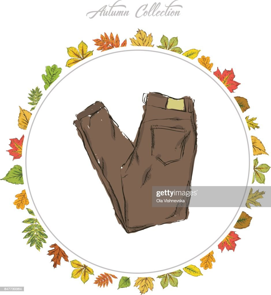 Jeans Hand Draw Clothes Autumn Collection Frame Of Autumn Leaves ...