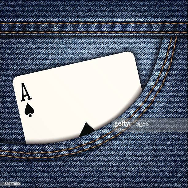 jeans pocket - ace stock illustrations, clip art, cartoons, & icons