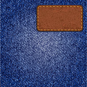 Jeans texture with leather label.