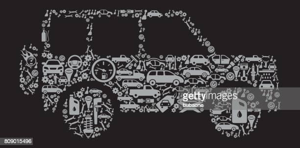 Jeep Auto reparación coches y automoción Vector icono fondo