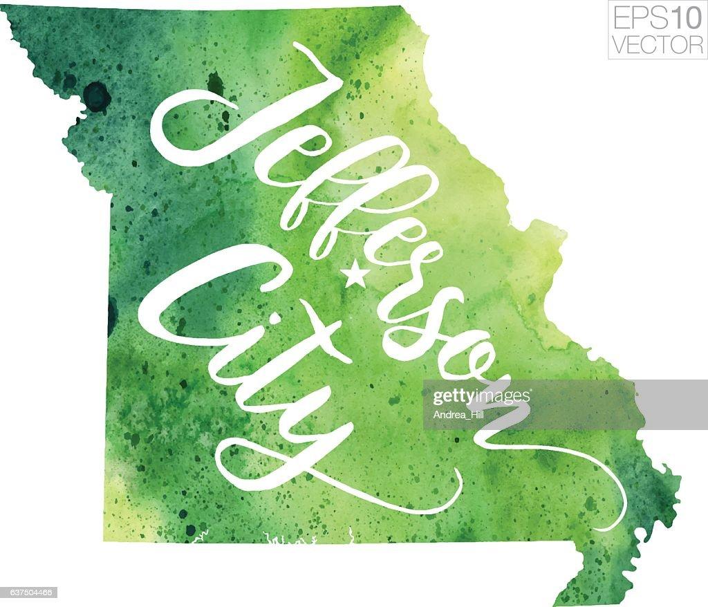 Jefferson City Missouri Usa Vector Watercolor Map Vector Art   Getty ...